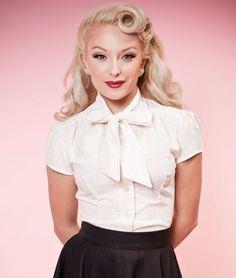 Vintage bow blouse 1930s-1950s. Estelle Blouse - Linen Look Ivory  AT vintagedancer.com