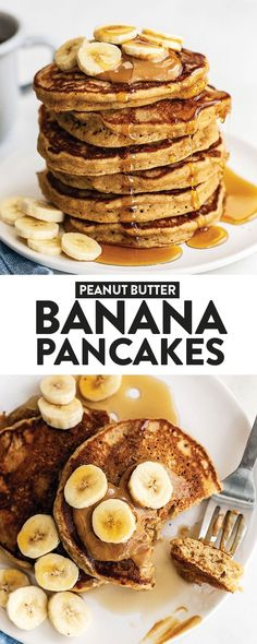 peanut butter pancake Wake up and make yourself a batch of these healthy peanut butter banana pancakes! They are made with whole and healthy ingredients. You can even make a double batch and freeze some for a busy week. Peanut Butter Banana Oats, Peanut Butter Pancakes, Healthy Peanut Butter, Peanut Butter Recipes, Healthy Food, Healthy Recipes, Banana Oatmeal Pancakes, Banana Breakfast, Healthy Banana Pancakes