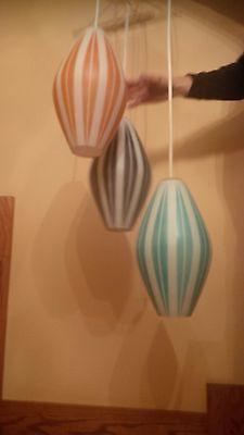 Mid Century Modern 3 Light Swag Glass Hanging lamp Vintage Atomic Cathrineholm