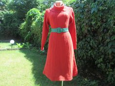 Knitted Dress Vintage / Wool with Acrylic / Handmade Dress /