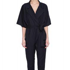 2015 Summer Style OL Office Slim Half Sleeve Bodysuit Strappy Navy Blue Striped High Waist Elegant Jumpsuit Pockets haoduoyi