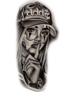 Chicanas Tattoo, Skull Girl Tattoo, Girl Face Tattoo, Skull Tattoos, Cute Tattoos, Body Art Tattoos, Girl Tattoos, Chicano Tattoos Sleeve, Chicano Style Tattoo