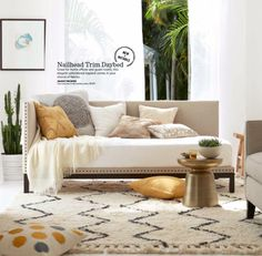 chich, yet affordable upholstered daybed with nail-head trim #daybed
