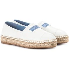 Prada Leather Espadrilles ($775) ❤ liked on Polyvore featuring shoes, sandals, white, leather shoes, white leather espadrilles, white espadrilles, white sandals and white shoes