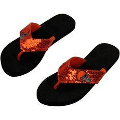 Men's Cleveland Browns  Black Flip Flops