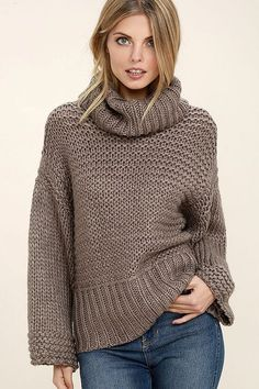 The Heart-to-Heart Dark Taupe Crop Sweater will add a little chic to your cozy night in! Thick cable knit shapes an oversized bodice with turtleneck. Crop Pullover, Cropped Sweater, Grey Sweater, Grey Turtleneck, Winter Sweaters, Cable Knit Sweaters, Black Sweaters, Oversized Sweaters, Fancy Jeans Top