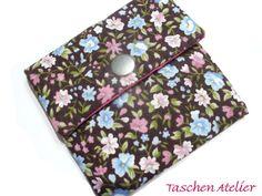 Tampontaschen - Minitasche Tampontasche STREUBLUMEN rosa braun - ein Designerstück von CreativeArtDesign bei DaWanda