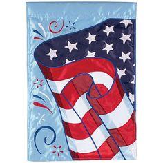 Patriotic Flag Appliqued Garden Flag