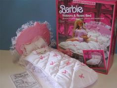 Vintage Barbie Sweet Roses Bed/Bedding. OMG!!! I had this one in my Barbie house!!!