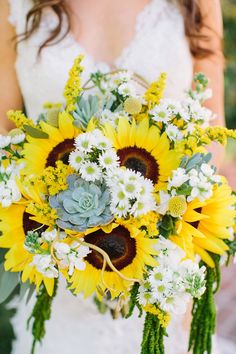 Big sunflowers with succulents, billy balls, amaranthus and other white and yellow blooms ~ we ❤ this! moncheribridals.com