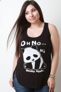 Panda Oh No Its Monday Again Graphic Print Top