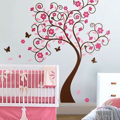 Curly Flower Tree with Butterflies - Nursery Vinyl Wall Decal | Styleywalls - Housewares on ArtFire