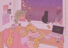 sailor moon but she's a lofi girl by kitteani on @DeviantArt Aesthetic Desktop Wallpaper, Anime Scenery Wallpaper, Cute Anime Wallpaper, Cartoon Wallpaper, Pink Wallpaper Desktop, Anime Computer Wallpaper, Wallpaper Quotes, Wallpaper Backgrounds, Sailor Moon Aesthetic