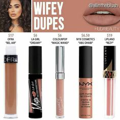 Huda beauty liquid lipstick dupes in the shade Wifey // Kayy Dubb ♡ Drugstore Makeup Dupes, Beauty Dupes, Huda Beauty, Beauty Makeup, Drugstore Blush, Drugstore Foundation, Skin Makeup, Makeup Brushes, Cute Makeup