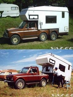 Interesting Compact tag-a-long / slide-on Lada-Niva camper setup