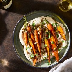 Whipped Hummus With Roasted Carrots & Za'atar Oil From Hetty McKinnon recipe on Food52 Roasted Carrots, Roasted Cauliflower, Quick Vegetarian Dinner, Vegetarian Meals, Whole Foods 365, Happy Kitchen, Hummus Recipe, Food 52, Recipes