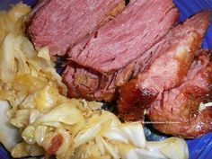 """Crock Pot Corned Beef and Cabbage (Serves 4)  2 lb. corned beef 2 T. brown sugar 1/4 C. water 1 small head cabbage, chopped  Remove and toss the """"pickling spice"""" packet that comes with the corned beef, rinse the meat then coat all over with the brown sugar, placing any extra sugar that falls off in the bottom of a 4 quart crock pot.   Pour the water in the bottom add the meat, cover and cook on low for 8 hours.   Add the chopped cabbage and cook for 1 more hour.   Let the meat rest a few ..."""