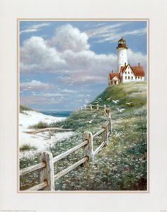 Lighthouse with Fence Print by T. C. Chiu at Art.com