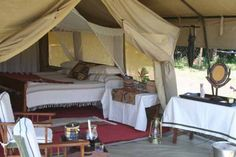 """They call this """"glamping"""" , luxury camping... In the romantic memories of Hemingway and Roosevelt and Out of Africa...I can hear the lions roaring now... sigh*"""