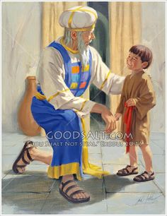 Eli and young Samuel or 6 years) are in the Temple. Eli is kneeling on one knee and has one hand resting on Samuel's back. They are looking at each other and both are smiling. In background are curtains over a doorway and a large brown pot/vase. Lds Jesus Christ Pictures, Jesus Christ Lds, Bible Illustrations, Prophetic Art, Biblical Art, Old Testament, Kids Church, Angel Art, Bible Stories