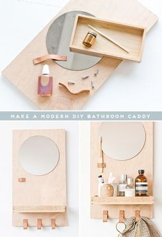 Learn how to make a modern DIY bathroom organizer out of scrap plywood. Click through for the tutorial. diy A Modern DIY Bathroom Organizer (with Mirror) - Paper and Stitch Modern Diy Bathrooms, Small Bathroom, Mirror Bathroom, Bathroom Ideas, Bathroom Makeovers, Shower Ideas, Bathroom Renovations, Bathroom Styling, Bathroom Caddy