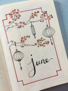 Bullet Journal June Cover Inspiration - New Sites Art Journal Pages, Bullet Journal Page, Art Journal Challenge, Art Journal Prompts, Bullet Journal Notebook, Journal Themes, Art Journals, Journal Ideas, Bullet Journal Months