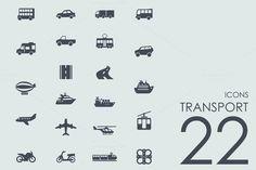 22 Transport icons by Palau on Creative Market