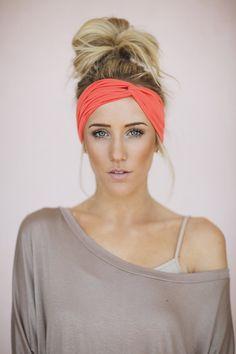 Mocha Turband Headband Wide Head Wraps Brown by ThreeBirdNest Gym  Hairstyles 4e327d3f4b2
