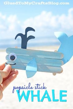 Popsicle Stick Whale - Kid Craft Using easy-to-find wooden popsicle sticks, craft paint and colored cardstock - you too can make this beach-friendly whale creature come to life today! Whale Crafts, Ocean Crafts, Fish Crafts, Rainbow Crafts, Dinosaur Crafts, Popsicle Stick Crafts For Kids, Popsicle Sticks, Craft Stick Crafts, Craft Paint
