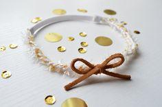 Gold & white halo headband