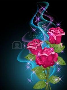 fleurs transparent: Fond rougeoyant de roses, de la fumée et les étoiles Illustration