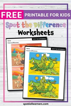 These FREE printable worksheets for kids are great for practicing spatial concepts! These spot the difference worksheets can be used as homework, bell-ringer activity, or warm-up activity. Fun things to do with your kindergarten or grade 1 students! Social Studies Resources, Reading Resources, Writing Activities, Teacher Resources, Science Resources, Teaching Ideas, Free Printable Worksheets, Worksheets For Kids, Printables