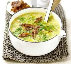 Potato & Savoy cabbage soup with bacon