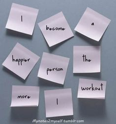"""A common error I despise.  """"Workout"""" is a noun.  If you do a workout, you """"work out.""""  Two words.  A simple thing, but it pops up all over Pinterest and drives me crazy.  This is a nice visual, since each word is supposed to have its own sticky note."""