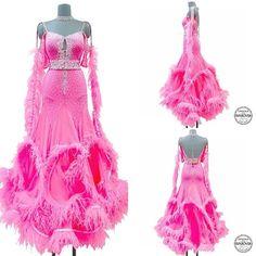 Beautiful pink and feather hem Ballroom Dress confection by popcorn atelier #popconatelier#ballroomdress#dancesports#latindress