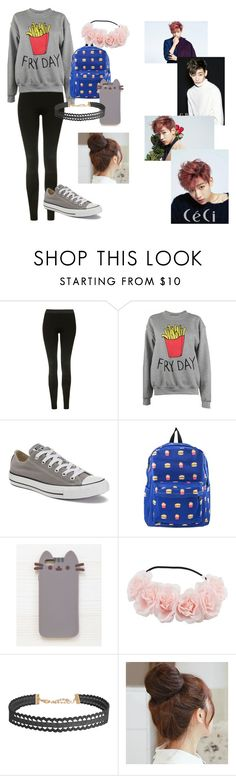 """""""Date with BamBam"""" by manuelahs on Polyvore featuring moda, Bambam, Topshop, Adolescent Clothing, Converse, Pusheen, Humble Chic y Pin Show"""