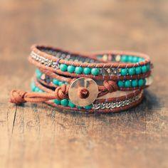 Bohemian Wrap Bracelet - Turquoise - Bohemian Jewelry.                                                                                                                                                     More