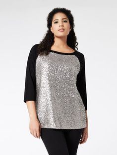 Stretch jersey T-shirt with sequins