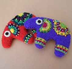 Lucky Elephant Needle Felted, Beaded Brooch, Pin. $20.00, via Etsy.