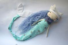 "lovely blue arctic mermaid little lu girl - 13""ish handmade cloth doll with light blue long hair, star print mermaid tail"