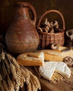 Bread and cheese....... #Bread Basket # wicker Basket #Basket