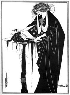 """""""The Dancer's Reward"""" d'Aubrey Beardsley.    Fiche technique:  .The Dancer's Reward  .Aubrey Beardsley  .1894  .Pirogravure  .Collection privée Biographie de Beardsley: Illustrateur britannique (1872-1898) connu pour un travail en noir et blanc. Il n'y a aucun dégradé, et beaucoup d'ornements. Son travail est apaisant."""