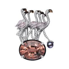BROOCH  Platinum, morganite, natural pearl, onyx, pink sapphires, mother-of-pearl beaks, brilliants by Cartier