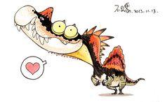 Spinosaur dinosaur by bu2ma on DeviantArt dinosaur cartoon character design paleo watercolor daily cute