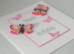 18th birthday card, quilled, handmade, can be made for any birthday. £6.00, via Etsy.