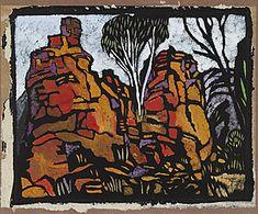 Margaret Preston 'Rocks in Roper River Valley N.T.' 1953 colour stencil Collection of the National Gallery of Australia © Margaret Preston. Licensed by VISCOPY, Australia