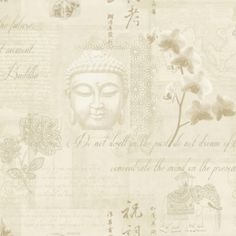 Gentil Buddha Wallpaper In White By K2