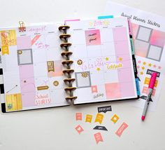 Gold, Pink, Grey Watercolor and Wood August Happy Planner Stickers, Print & Stick!