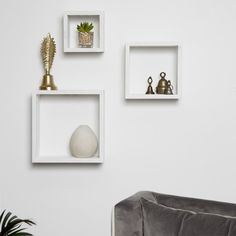 Distressed White Floating Box Shelves, Set of 3 : Wood Floating Cube Shelves, Cube Wall Shelf, Wall Cubes, Box Shelves, Floating Wall, Small Shelves, Display Shelves, Ledge Shelf, Corner Shelf