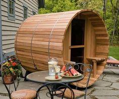 2-Person Canopy Barrel Sauna | DudeIWantThat.com